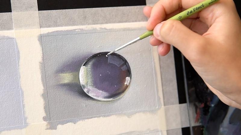 Как рисовать каплю воды? Тестирую разбавитель без запаха. Как упаковать картину.Пересылка заграницу