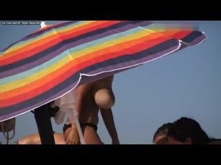 Huge tits topless beach