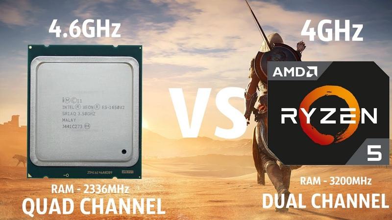 Assassins Creed Origins Ryzen 5 2600 4GHz vs i7 4930K(xeon e5 1650v2) 4.6GHz
