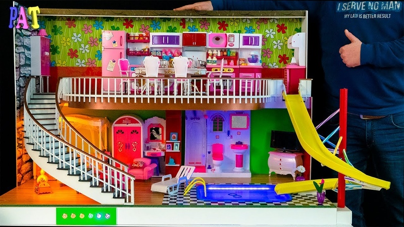 DIY Miniature Dollhouse NEW Room ~ SWIMMING POOL WATER SLIDE Kitchen Living Room Bedroom