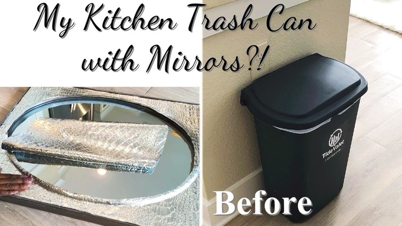DIY KITCHEN TRASH COVER WITH MIRROR?! UNIQUE HOME DECOR IDEAS ON A BUDGET!