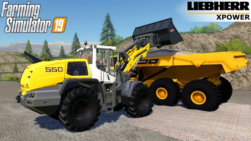 Farming Simulator 19 LIEBHERR 550 XPOWER Wheel loader Loads Gravel In The Quarry