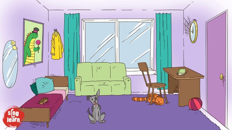 My room vocabulary song in English for kids Furniture pets objects Learning songs