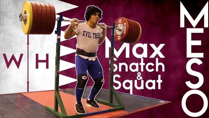 Meso Hassona Max Back Squat 170kg Snatches Max Strict Press 2019 World Championships