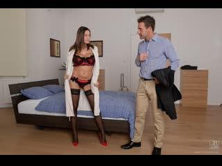 Sensual Jane - First Time Exhibitionist / Сексуальная секретарша в чулках [Big Tits, Blowjob, Mature & Milf, Tits, Cumshot]
