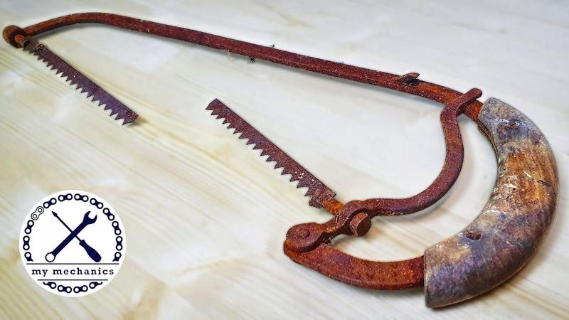 Antique Rusty Hacksaw with Broken Blade Restoration