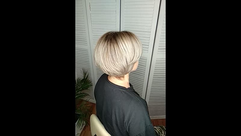 окрашивание блонд и умная стрижка для Ирины.