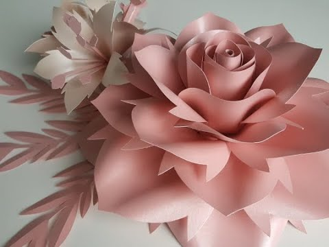 Rose paper flower tutorial. Template 10 Large Rose Tutorial. Diy Paper Rose Paper Flowers.