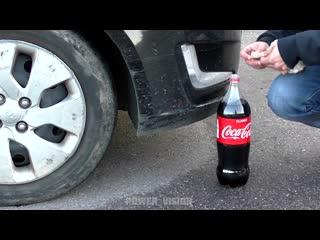 Интересное видео №257 experiment__car_vs_coca_cola_and_mentos