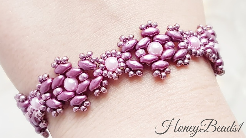 Superduo bracelet, Angelic Glitz, Beaded bracelet tutorial by HoneyBeads1