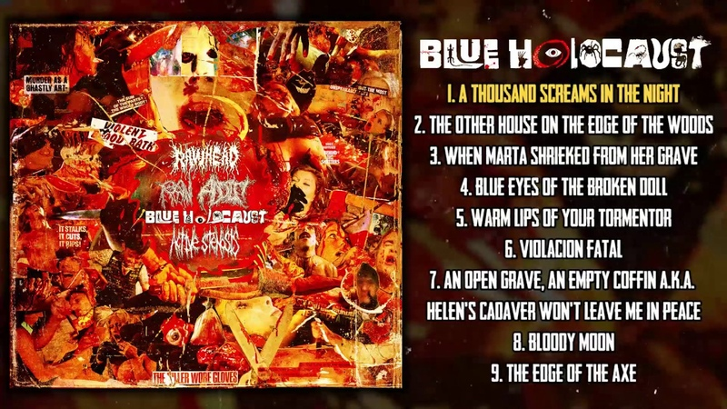Blue Holocaust 4 way split w Active Stenosis Rawhead Raw Addict 2020 Goregrind