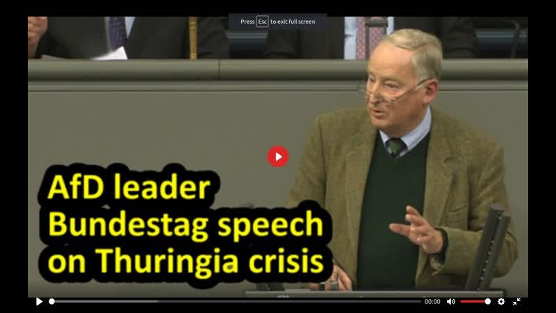 Thuringia government crisis AfD leader Alexander Gauland Bundestag speech English subtitles