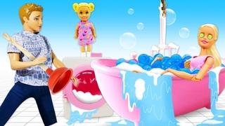 Кен и Барби в видео сборнике - Дом Мечты куклы затопило! – Смешные видео игры одевалки куклы Barbie