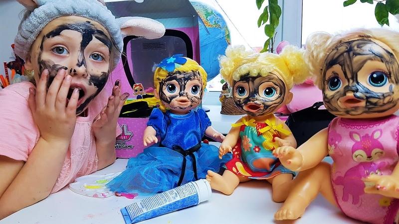 Дарина открывает салон красоты для кукол беби Элайф со слаймами и косметикой
