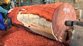 Woodworking Large Extremely Dangerous | Giant Woodturning | Skills Working With Giant RED Wood Lathe