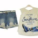 Комплект для девочки летний 2 пр.туника+ джинсовые шорты