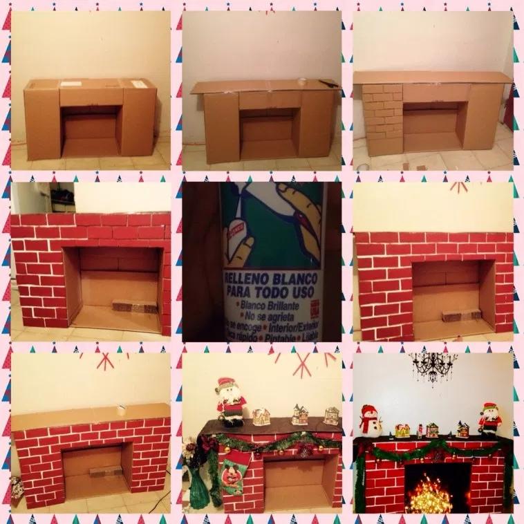Как сделать новогодний камин из коробок и картона, изображение №6