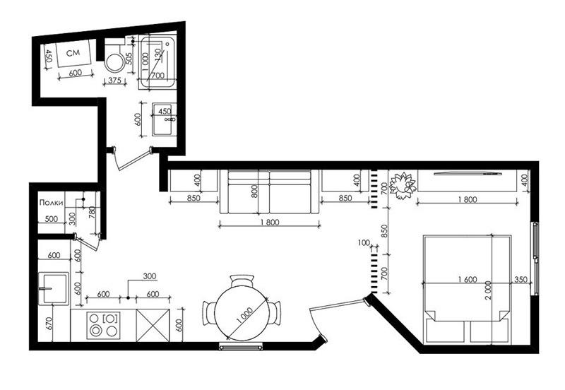 Дизайн-проект небольшой студии 31 м.