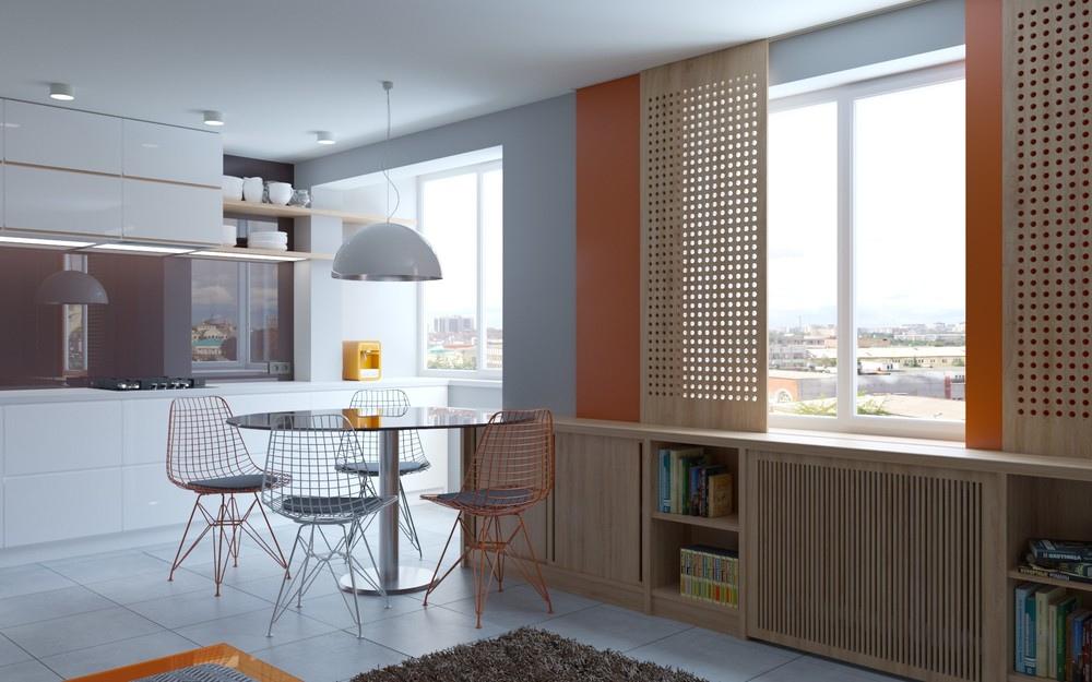 Проект перепланировки 1-комнатной квартиры в студию почти 38 м (с присоединенным балконом).