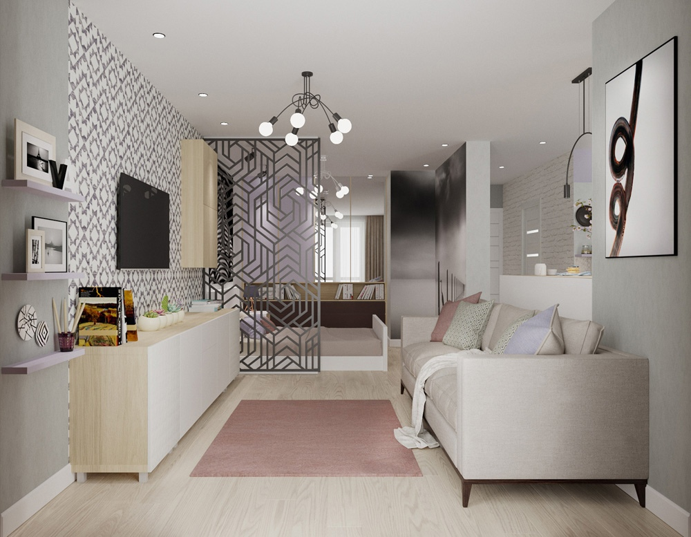 Проект квартиры-студии квадратной планировки.