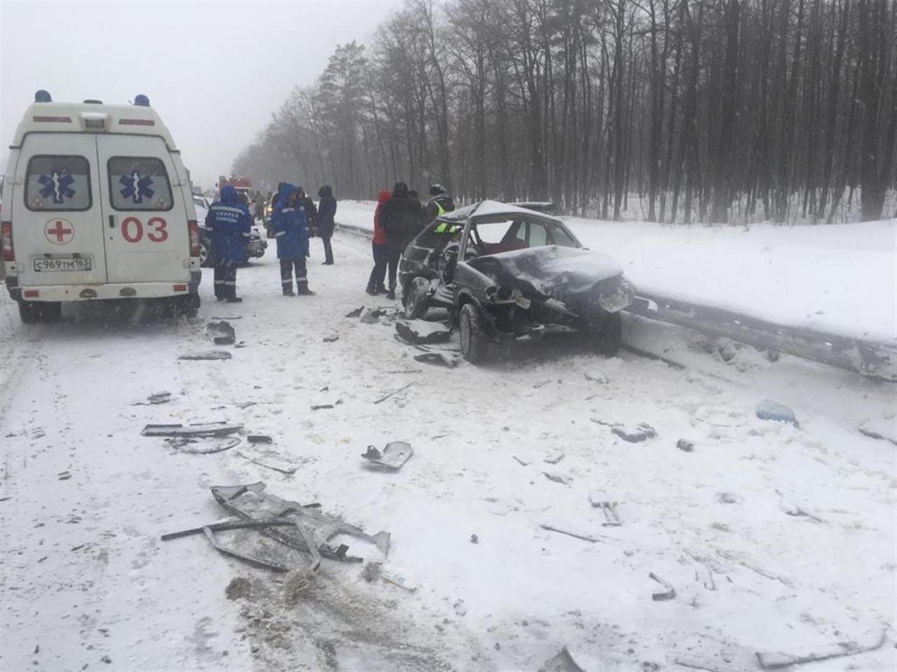 ДТП на трассе Тольятти-Самара. Машина ВАЗ «в хлам»