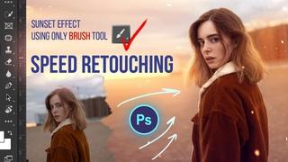 Best Sunset Lighting Effect Using Only Brush Tool • Speed Retouch