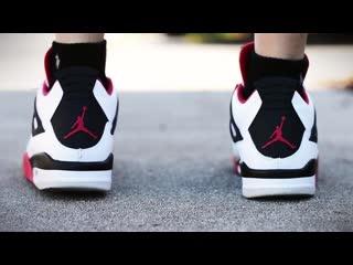 Air jordan 4 varsity red fire red on feet sneaker review