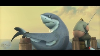 Мультфильмы. Большая рыба. Забавный короткометражный мультик.