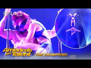 Duo Transcend: 50 Shades Of Danger Act With Wife DROPPING Husband   @America's Got Talent Champions