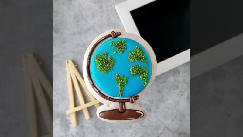 Пряник имбирный Глобус роспись глазурью мастер класс