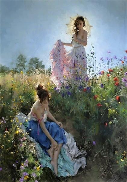Висенте Ромеро. Этого живописца смело можно назвать певцом женской души, столько работ изображающих женщин нет ни у одного художника. Его женские образы, эталон красоты и нежности . Среди