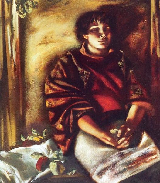 Александр Погосян (1963). Девушка с яблоками (светлая) , 1997 холст , масло 90х80см