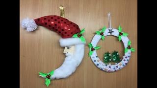 Moon Santa Claus & Wreath  DIY Santa Crescent Moon Wreath  5min craft   Christmas Craft Decoration