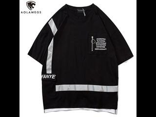 Мужская светоотражающая футболка aolamegs, удобная повседневная футболка в стиле харадзюку, хипстерская уличная одежда в